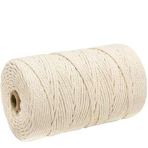 COSWEET 218 Yards Macrame Cotton Cord Rope for Wall Hanging Dream Catcher, Christmas Decoration Ornaments Natural Handmade Craft Rope DIY Decoration Macrame Plant Hanger Crocheting Bohemia Knitting