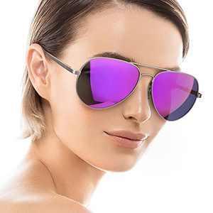Aviator Sunglasses for Women Men Polarized Mirrored, Large Metal Frame, UV 400 Protection