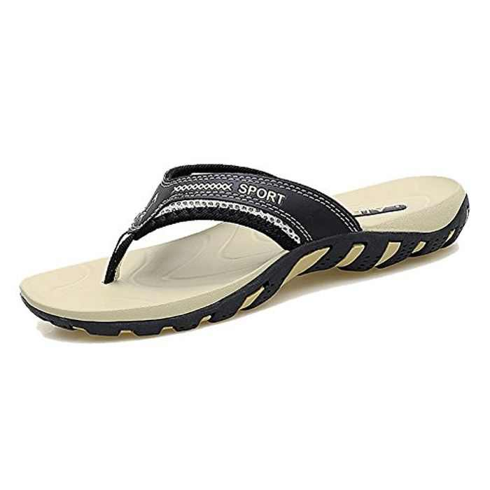 TUOBUQU Mens Casual Flip Flops Beach Summer Sandals Outdoor Slippers with Arch Support for Unisex