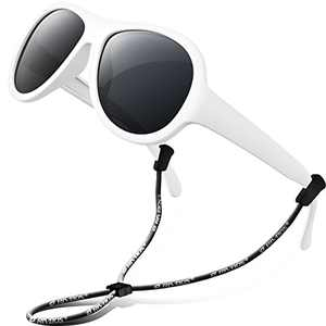 RIVBOS Toddler Sunglasses with Strap Polarized Rubber Flexible Shades for Girls Boys Age 2-6 RBK067-White