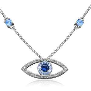 """925 Sterling Silver Evil Eye Jewelry Blue White CZ Pendant Eye Necklace Gifts for Women Girl 18"""" Sliver Chain"""