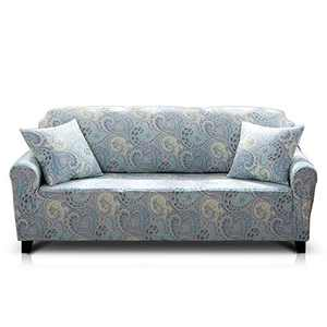 Hipinger Spandex Fabric Stretch Couch Cover Sofa Slipcover Stylish Furniture Protector for 3 Cushion Couch (3 Seater, Paisley)