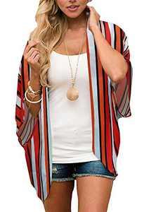 Womens Tops Floral Print Kimono Casual Cardigan Chiffon Loose Cover Ups(Stripe,M