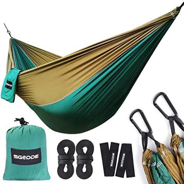 SGODDE Ultra-Light Hammock, Travel Camping Hammock, 300kg Load Capacity,Breathable,Quick-drying Parachute Nylon   2 x Premium Carabiners,2 x Nylon Slings Included   For Outdoor Indoor Garden