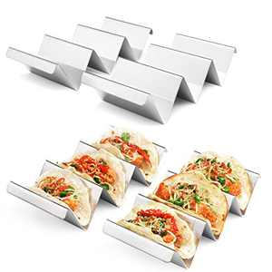 Taco Holders 4 Packs - Stainless Steel Taco Stand Rack Tray Style by Artthome, Oven Safe for Baking, Dishwasher and Grill Safe