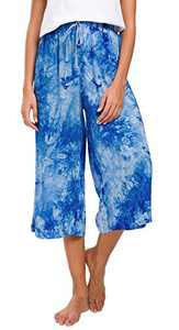 Urban CoCo Womens Comfy Solid Tie-Dye 3/4 Lounge Pants (L, Blue)