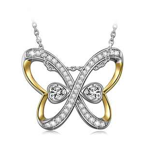 NINASUN Butterfly Necklace for Women Gold Plated 925 Sterling Silver Christmas Infinity Necklace Pendant Crystals from Heart for Her Wife Anniversary Birthday
