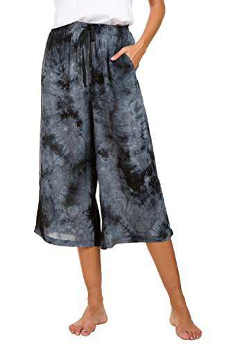Urban CoCo Womens Comfy Solid Tie-Dye 3/4 Lounge Pants (M, Black)