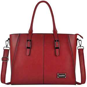 IAITU Laptop Tote Bag, Work Bags for Women Laptop Purse Fits Up to 15.6 Inch Computer(Red)