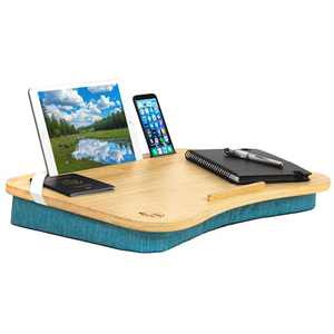 """Hultzzzy Home Office Lap Desk - Natural Bamboo -Fits 17"""" Laptops- Ipad Stand, Phone, Tablet Holder - Reading Pillow, Couch Bed Tray Table - College Dorm Room Essentials for Boys and Girls"""