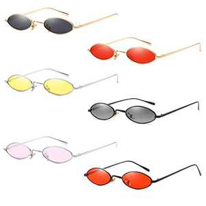 AOOFFIV Vintage Slender Oval Sunglasses Small Metal Frame Candy Colors