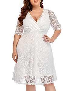Women Lace V Neck Plus Size Wedding Dress White Bridal Shower Cocktail Ivory Bride Short Evening Party Semi-Formal Dress