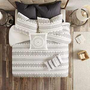 "INK+IVY 100% Cotton Duvet Mid Century Modern Design All Season Comforter Cover Bedding Set, Matching Shams, Full/Queen(88""x92""), Rhea, Ivory Geometric Clipped Jacquard"