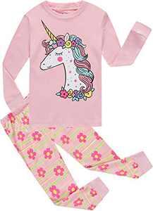 Little Girls Pajamas Baby Children Horse Pyjamas 100% cotton Pink Toddler Sleepwear Size 5