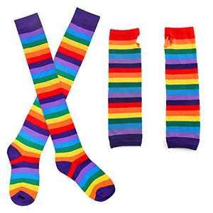 Beelittle Women's Rainbow Costume Sets, Long Socks and Gloves