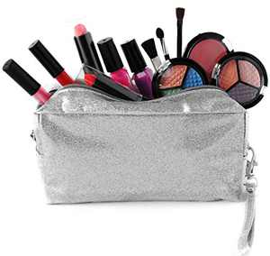 SmartEmily Girls Toys - Kids Makeup kit for Girl with Glitter Cosmetic Bag, Play Makeup for Girls and Teens, Washable and Non Toxic, Real Make up Set, Best Birthday Gifts idea for Girls, Silver