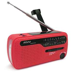 Best NOAA Weather Radio for Emergency by Kozo. Multiple Ways to Charge, Self Powered by Dynamo Hand Crank & Solar Panel, Long Antenna to Pick Up Reception Everywhere (Red)