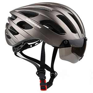 Bike Helmet for Men Women, Shinmax Adult Bicycle Helmet Bc-049 with USB Charging Light&Detachable Magnetic Goggles Visor&Carry Bag&Uv Protective Cycling Helmet Mountain Road