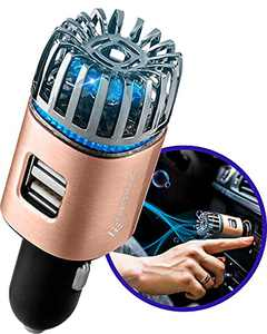 Craftronic NanoActive | Car Air Purifier & Dual Fast Charge USB | 5.6 Million Negative Ion Anti-Microbial, Eliminates PM 2.5 Smoke, Pollutants, Virus, Bacteria, Odors | Relieve Allergy (Gold)