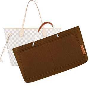 FOREGOER Felt Purse Insert Bag Organizers,Handbag Shapers with Handle for LV Speedy,Neverfull,Tote - 5 Color,3 Size(Small, Brown)