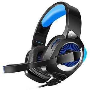 Gaming Headset for PS4, PC, Xbox One, Nintendo Switch, Laptop, PHOINIKAS H9 Xbox One Headset, 7.1 Stereo Sound, Over Ear Headphones with Microphone, Noise Isolating, LED Light, Volume Control (Blue)