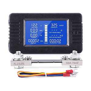 Spartan Power DC Meter Battery Monitor & Multimeter 0-100A 0-200VDC LCD Display Comes with 100A Current Shunt and Wiring Kit