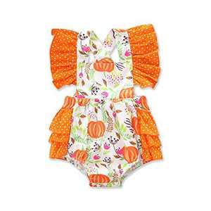 My First Thanksgiving Pumpkin Romper for Baby Girl, Cute Ruffle Newborn Baby Girl Bodysuit Jumpsuit (Orange, 0-6 Months)