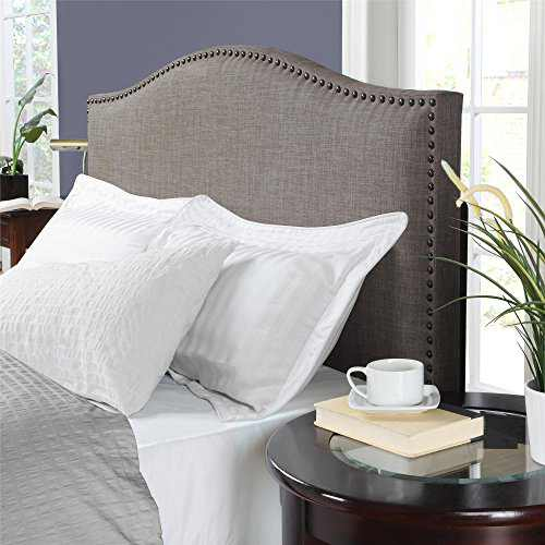 Dorel Living Winsted Linen King Headboard with Nailheads, Gray