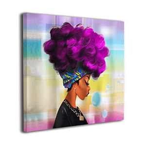 Martoo Art African Women with Purple Hair Painted Framed Oil Paintings Black Woman Wall Art Pictures Room Decor Ready to Hang 12x12 inch