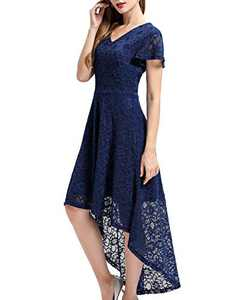 Bbonlinedress Vintage Women's Floral Lace Hi-Lo Formal Evening Dress Cocktail Party Dress Navy S