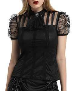 Victorian Gothic Renaissance Blouses Shirts Top Pirate Costume Black 2XL