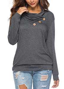 KISSMODA Womens Long Sleeve Cowl Neck Pullover Tops with Button Pocket Sweatshirts Drak Gray M