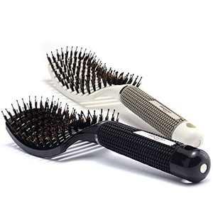 Baasha Detangling Hair Brush for Curly Hair, Boar Bristle Hair Brush Set of 2 Black & White, Large Boar Bristle Vent Brush For Blow Drying for Women, Curved Hair Brush Vented With Boar Bristle
