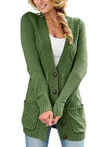 LOSRLY Women Open Front Cable Knit Cardigan Button Down Long Sleeve Sweater Coat Outwear with Pockets-Green XL