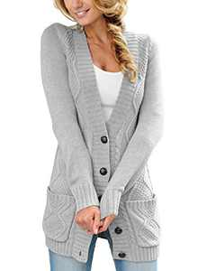 LOSRLY Women Open Front Cable Knit Cardigan Long Sleeve Button Sweater Coat with Pockets-Gray XL
