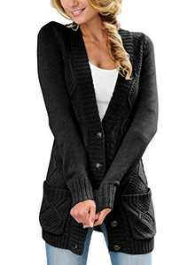 LOSRLY Women Open Front Cable Knit Cardigan Button Down Long Sleeve Sweater Coat Outwear with Pockets-Black XL
