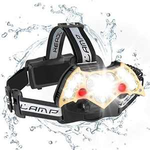 LED Headlamp High Power 5 Modes SuperBright Bat-shaped Waterproof Headlights Adjustable Rechargeable Batteries forCamping Hiking Fishing Running Cycling,USB Head Torch Hand Tools 10000 Lumen
