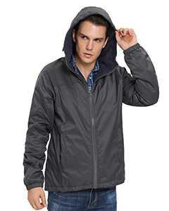 iLoveSIA Men's Fleece Jacket Windbreaker Lightweight US Size L(tight fit) Dark Grey