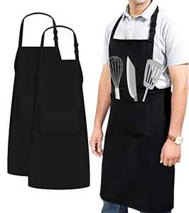 Ruvanti 2 PK Professional Grade XXL Size 2 Pockets Black Aprons for Men/Women.