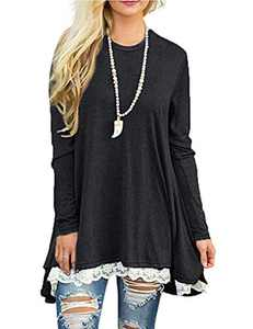 Womens Shirts and Blouses Long Sleeve Black Fall Tops Lace Hem Dressy Tunic Tops S