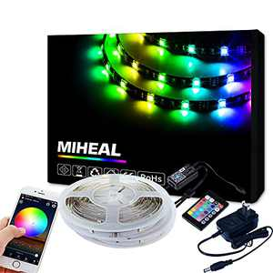 Miheal LED Light Strip, WiFi Wireless Smart Phone Controlled Strip Light Kit 65.6ft 5050 RGB 600LEDs Lights with DC12V UL Rope Light,Working with Android and iOS System,IFTTT, Google Assistant