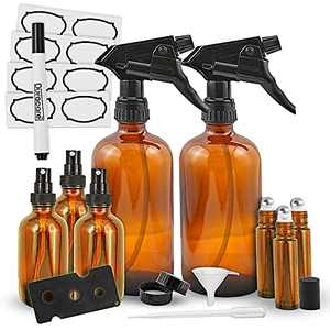 Duracare Amber Glass Spray Bottles 2 (16oz) Trigger Sprayers w/Screw Cap, 3(2oz) Mist Sprayers, 3 (10ml) Stainless Steel Roller Bottles w/Labels and Washable Marker, Cap, Dropper and Funnel-BPA-free