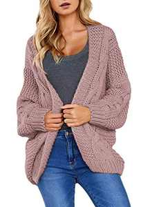 Dokotoo Womens Plus Size Oversized Winter Warm Cozy Open Front Solid Loose Long Sleeve Chunky Cable Knited Cardigan Sweater Coats Jackets Pullover Sweater Pink XX-Large