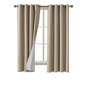 Deconovo Faux Linen Blackout Curtains with 3 Pass Energy Efficient Thermal Insulated Coating Room Darkening Curtains Drapes for Dining Room 52 x 72 Inch 2 Curtain Panels Champagne