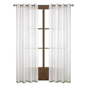 Dreaming Casa White Linen Sheer Curtains for Bedroom Solid Semi Sheer Grommet Top Two Panels for Living Room 2 Panels 52''W x 84''L