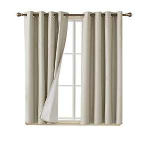 Deconovo Blackout Curtains with with Coating Back Layer Energy Efficient Thermal Insulated Faux Linen Room Darkening Grommet Curtain Panels for Nursery Room 52 x 54 Inch Set of 2 Khaki