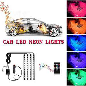 Car interior light-YI-SHANEY Car LED Strip Light, Music Sync Tube Lights 48LED 8 Colors Flexible and Waterproof Under Dash Lights With Sound Active Function and Remote Control DC 12V (Car Cigarette)