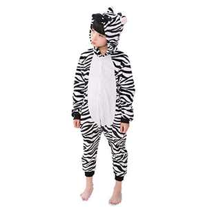 Kids Animal Onesie Pajamas Costume Cosplay for Boys Girls Child Zebra Black XL