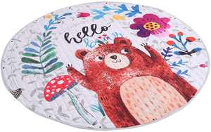 VOSAREA Nursery Round Area Rug Toy Storage Mat Bag Children Floor Play Mat Baby Toddler Round Carpet Crawling Mat (Bear)