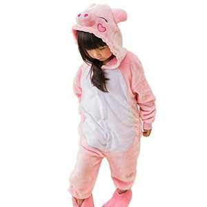 Kids Animal Onesie Pajamas Costume Cosplay for Boys Girls Child Pink Pig XL